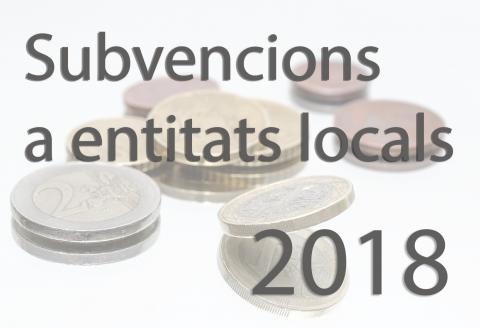 Subvencions a entitats locals 2018